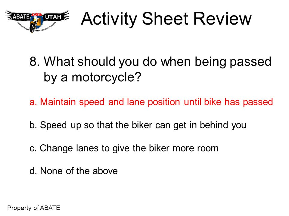 Activity Sheet Review 8. What should you do when being passed