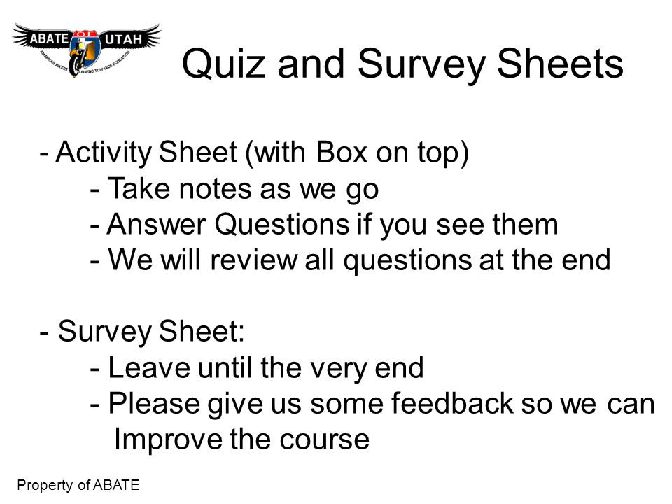 Quiz and Survey Sheets - Activity Sheet (with Box on top)