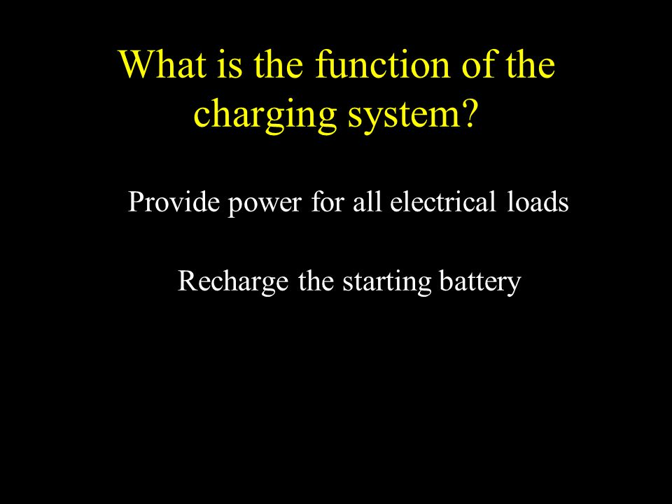 What is the function of the charging system