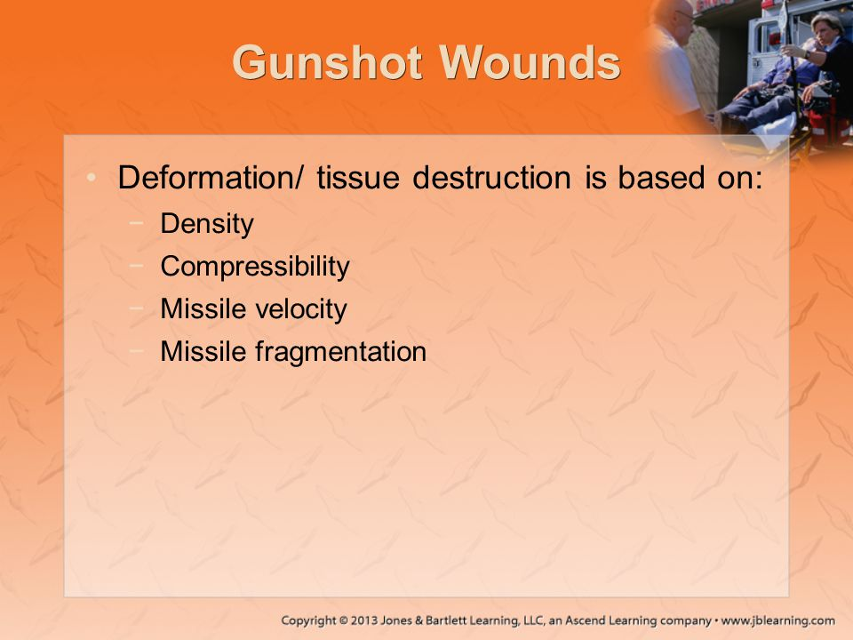 Gunshot Wounds Deformation/ tissue destruction is based on: Density