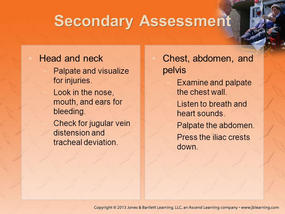 Secondary Assessment Head and neck Chest, abdomen, and pelvis