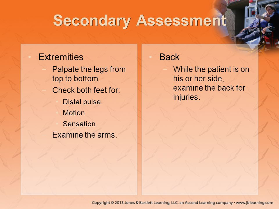 Secondary Assessment Extremities Back