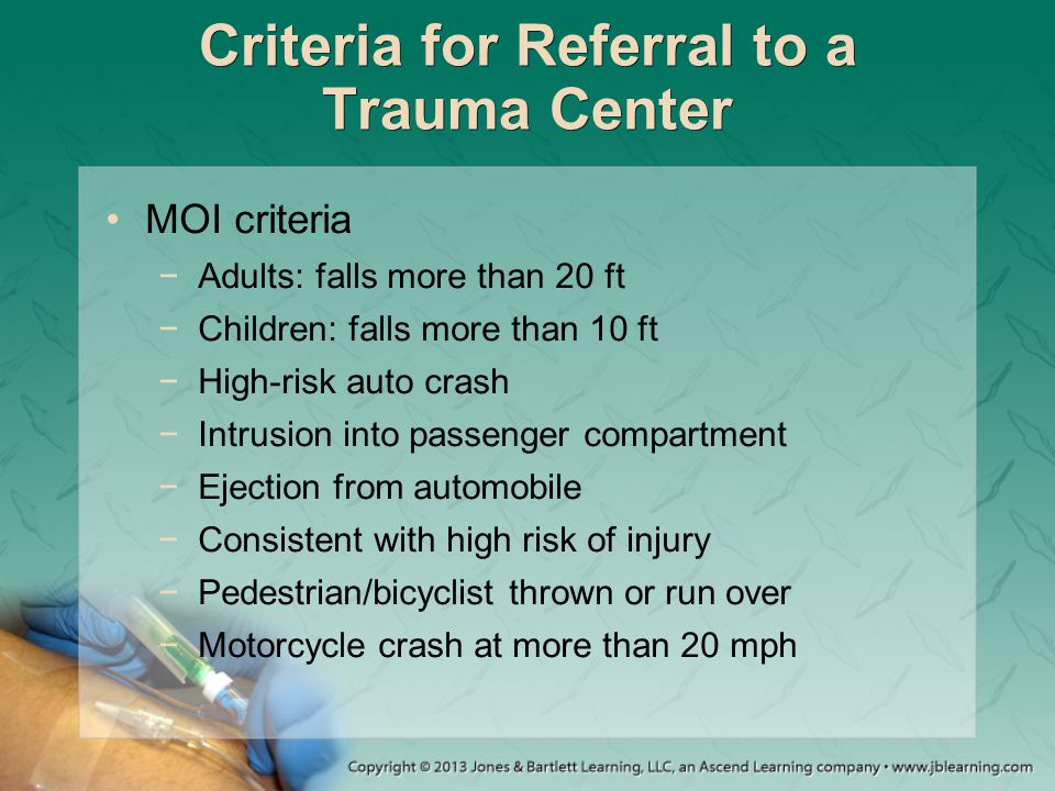 Criteria for Referral to a Trauma Center