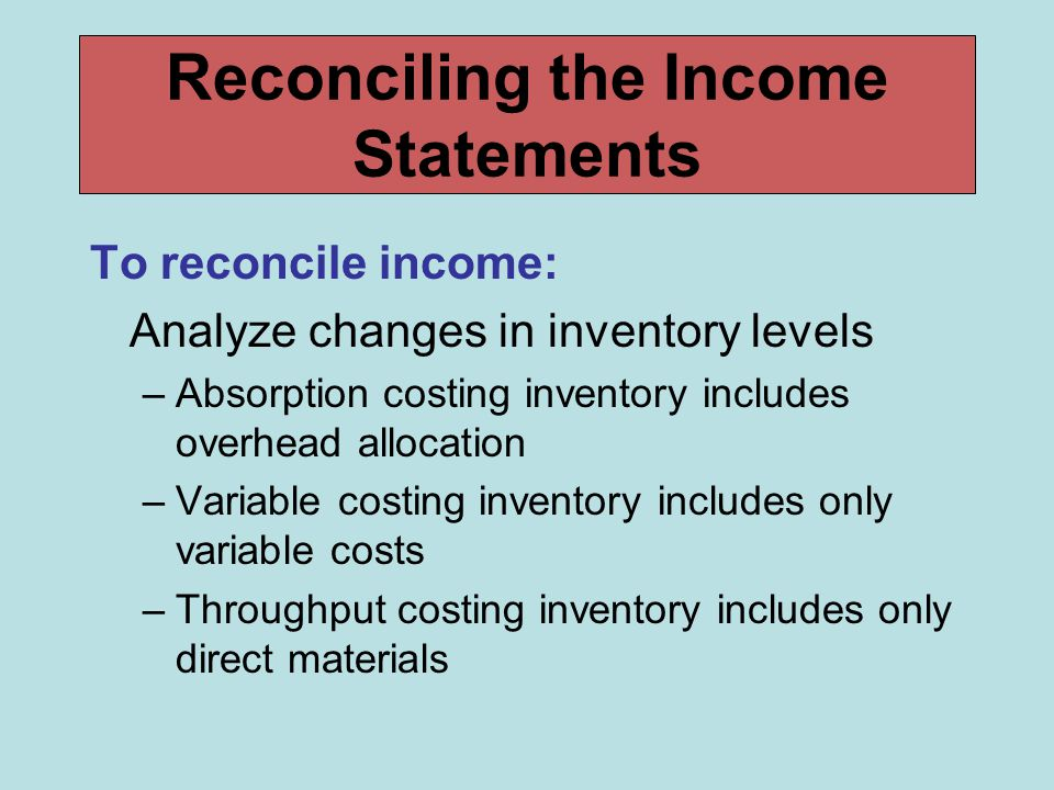 Reconciling the Income Statements