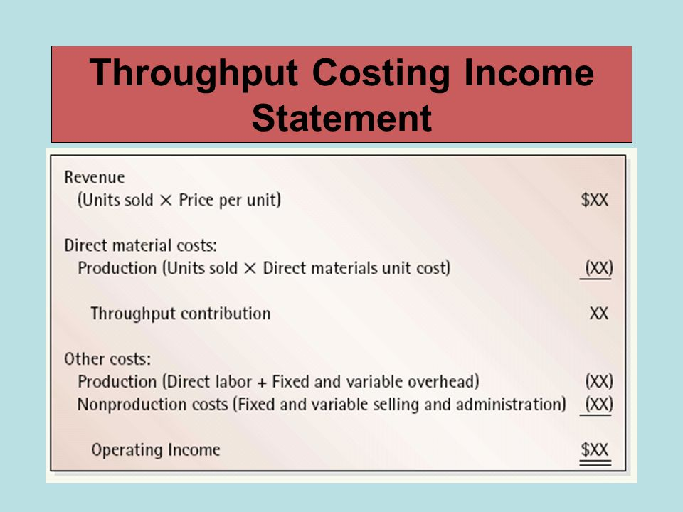 Throughput Costing Income Statement