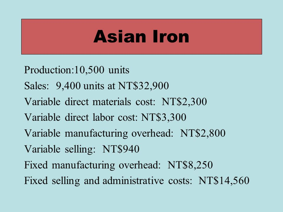 Asian Iron Production:10,500 units Sales: 9,400 units at NT$32,900