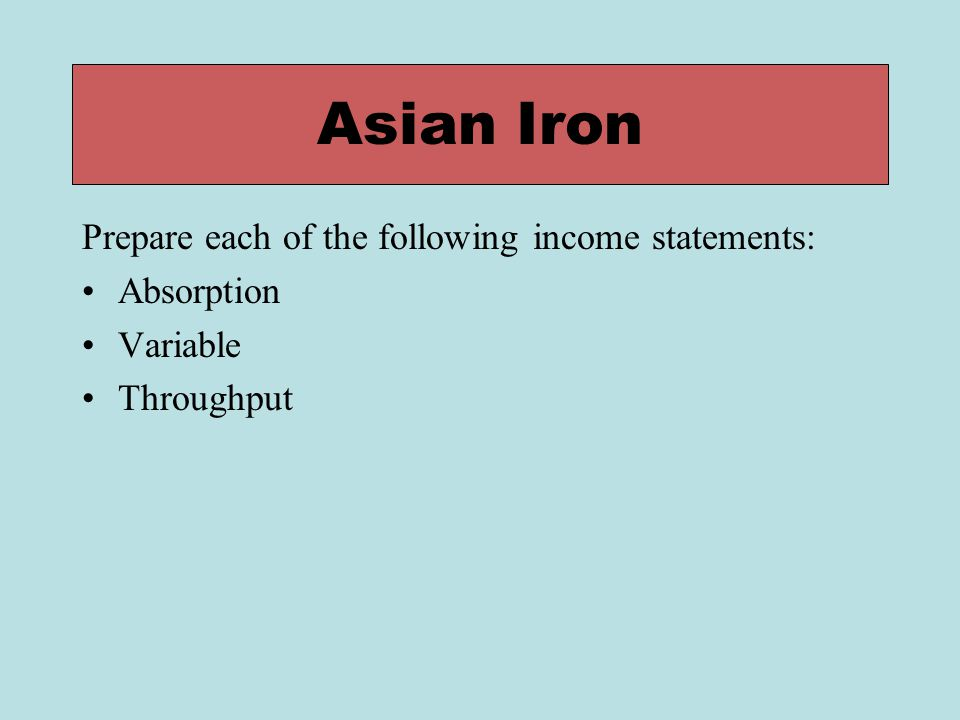 Asian Iron Prepare each of the following income statements: Absorption