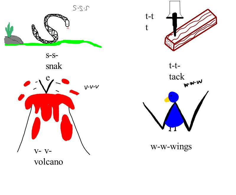 t-t-tack t-t t s-s-snake v- v-volcano w-w-wings