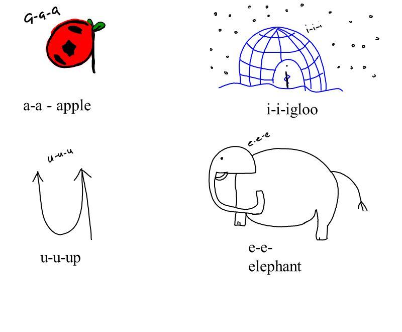 i-i-igloo a-a - apple e-e-elephant u-u-up