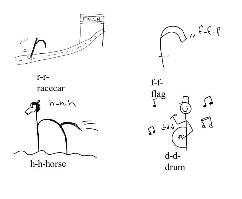 r-r-racecar f-f-flag d-d-drum h-h-horse