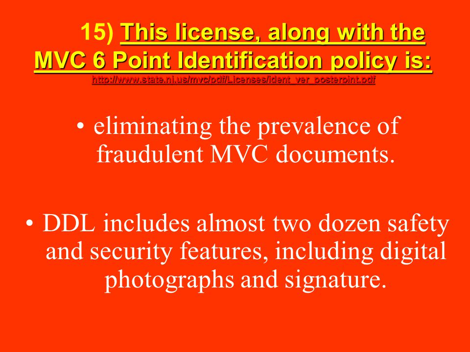 eliminating the prevalence of fraudulent MVC documents.