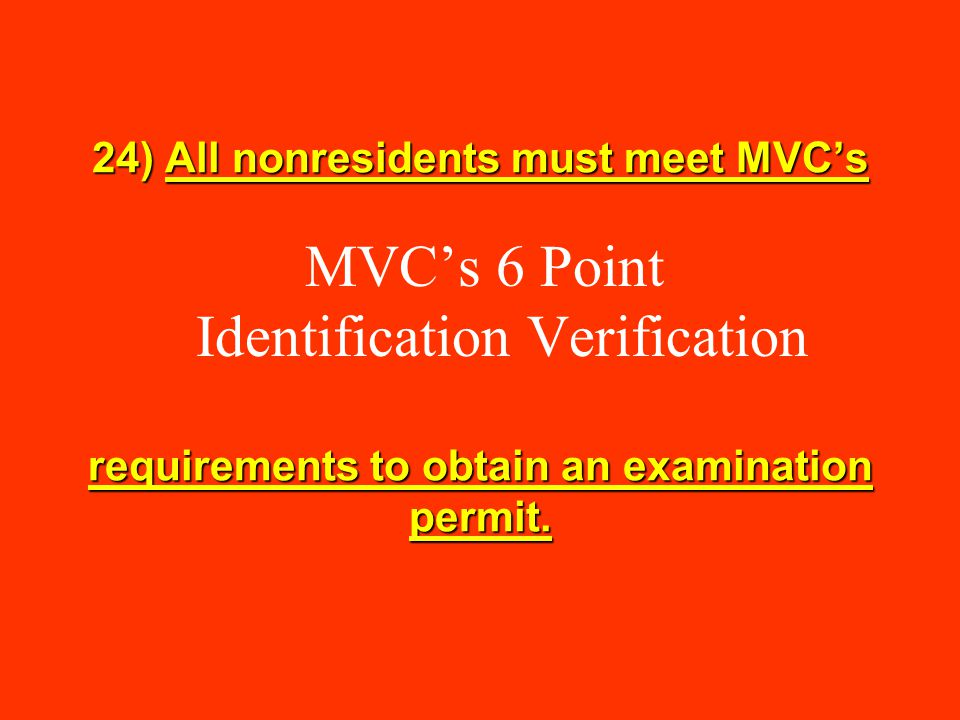 MVC's 6 Point Identification Verification