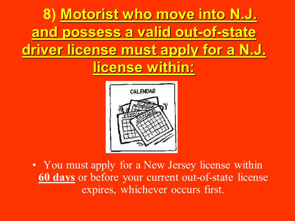 8) Motorist who move into N. J