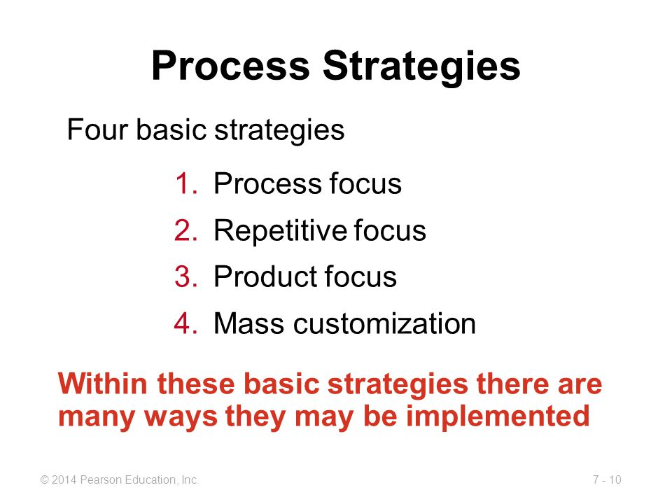 Process Strategies Four basic strategies Process focus
