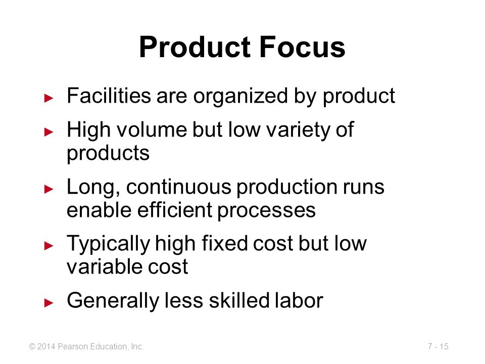 Product Focus Facilities are organized by product