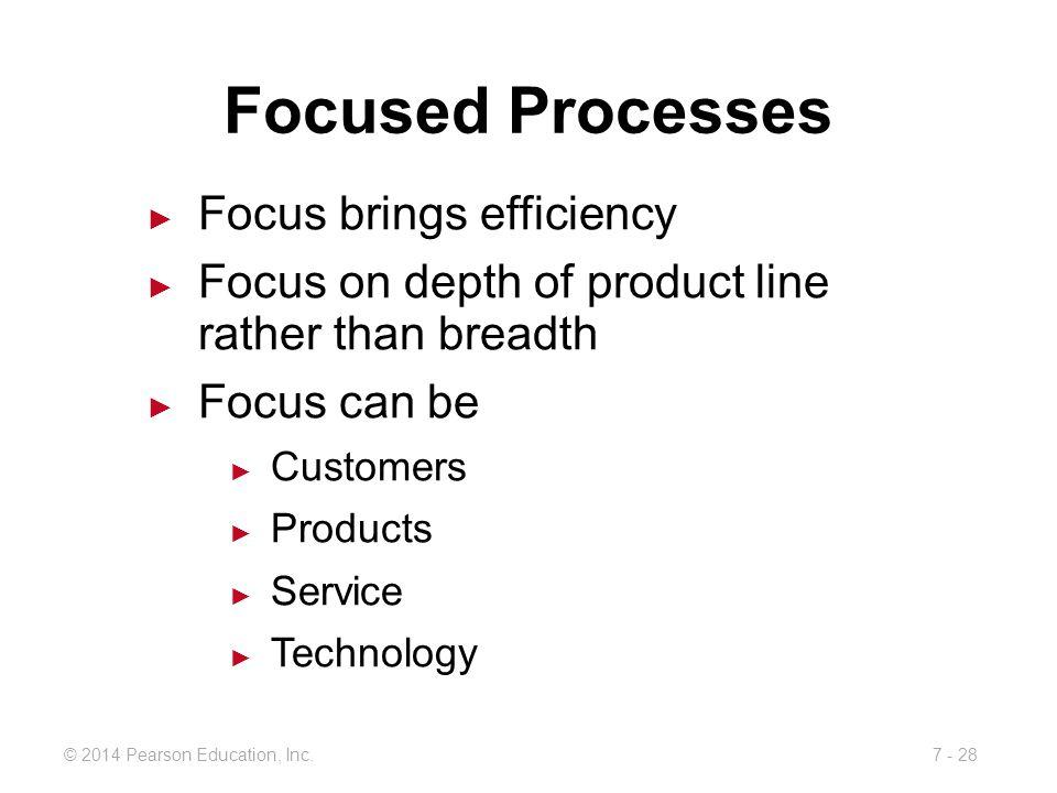 Focused Processes Focus brings efficiency