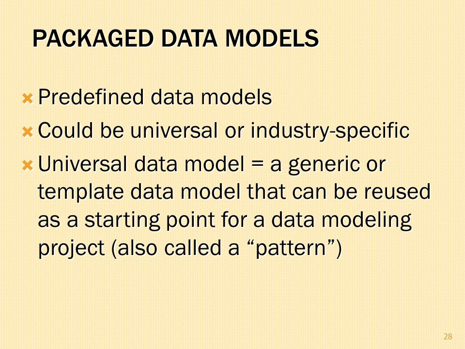 Packaged Data Models Predefined data models
