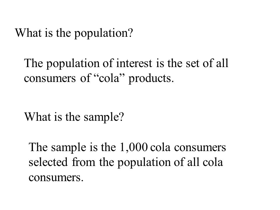 What is the population The population of interest is the set of all consumers of cola products. What is the sample