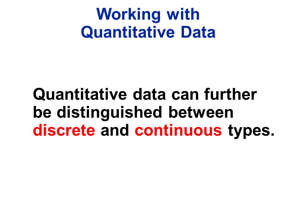 Working with Quantitative Data.