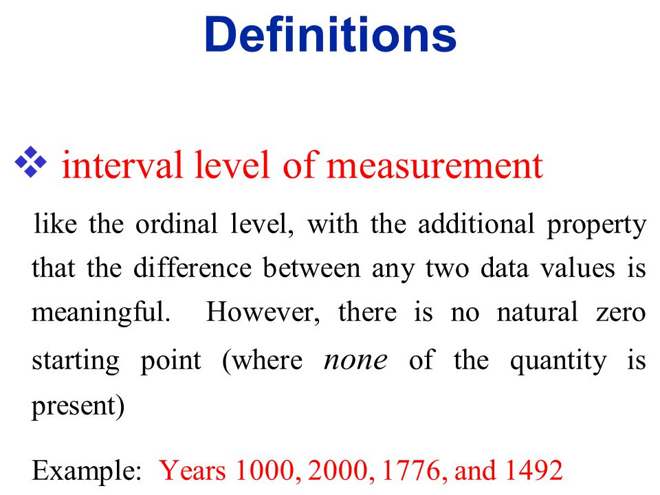 Definitions interval level of measurement