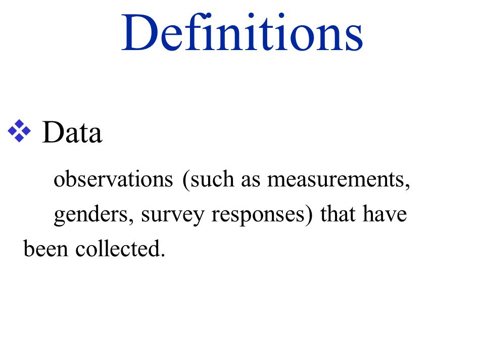 Definitions Data.