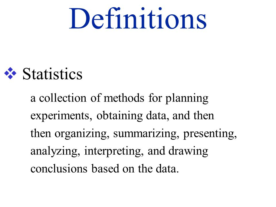 Definitions Statistics