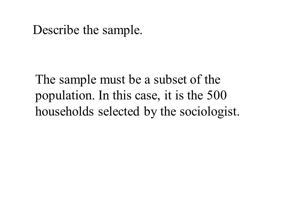 Describe the sample. The sample must be a subset of the population.