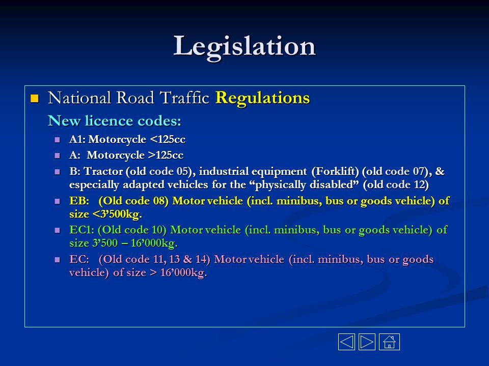 Legislation National Road Traffic Regulations New licence codes: