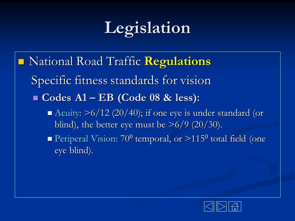 Legislation National Road Traffic Regulations