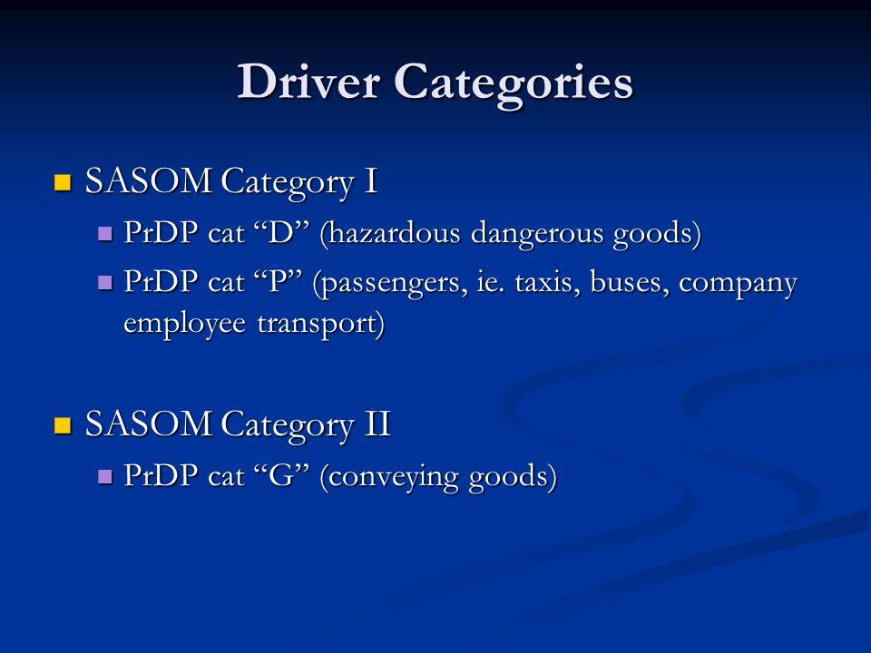 Driver Categories SASOM Category I SASOM Category II