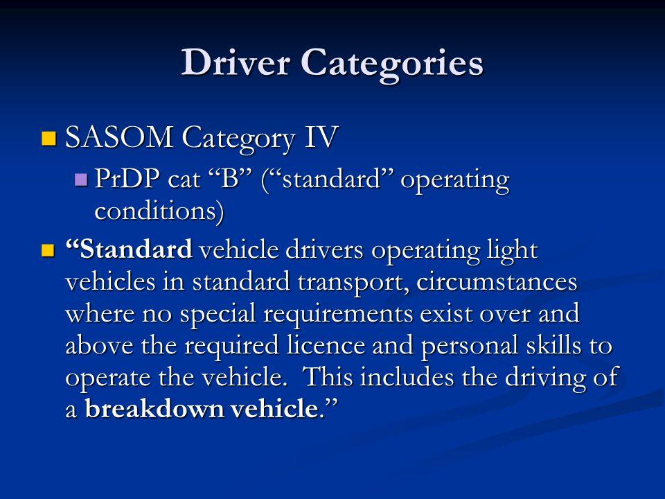 Driver Categories SASOM Category IV