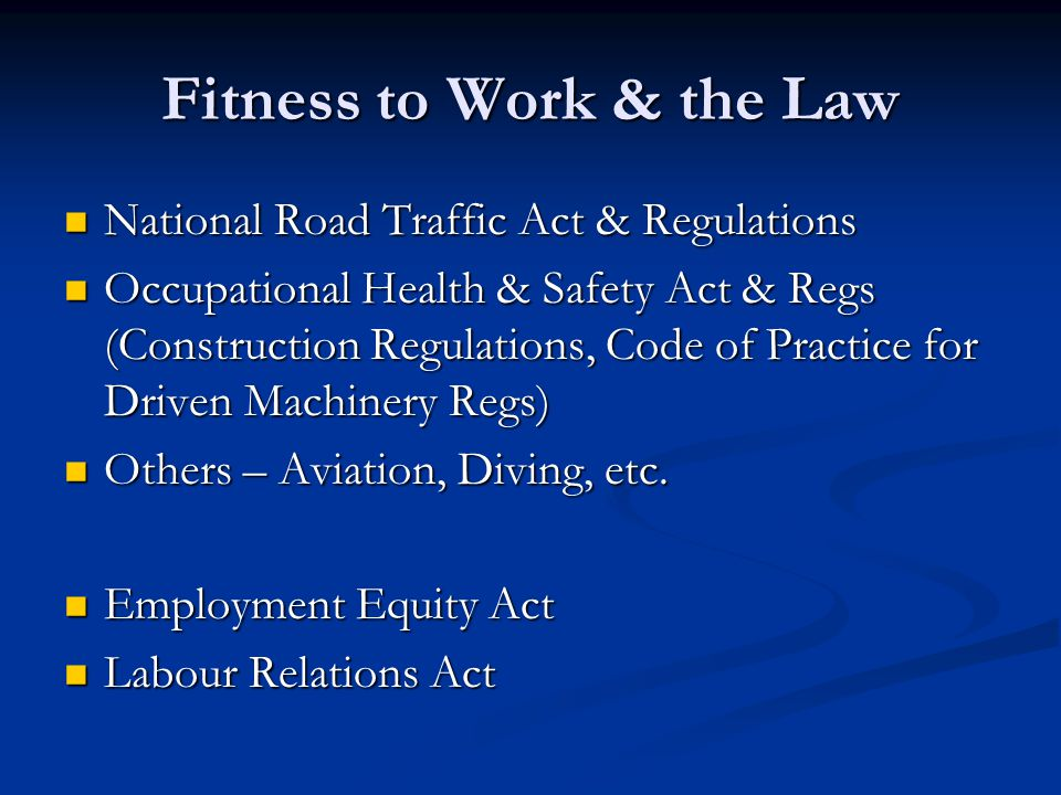 Fitness to Work & the Law