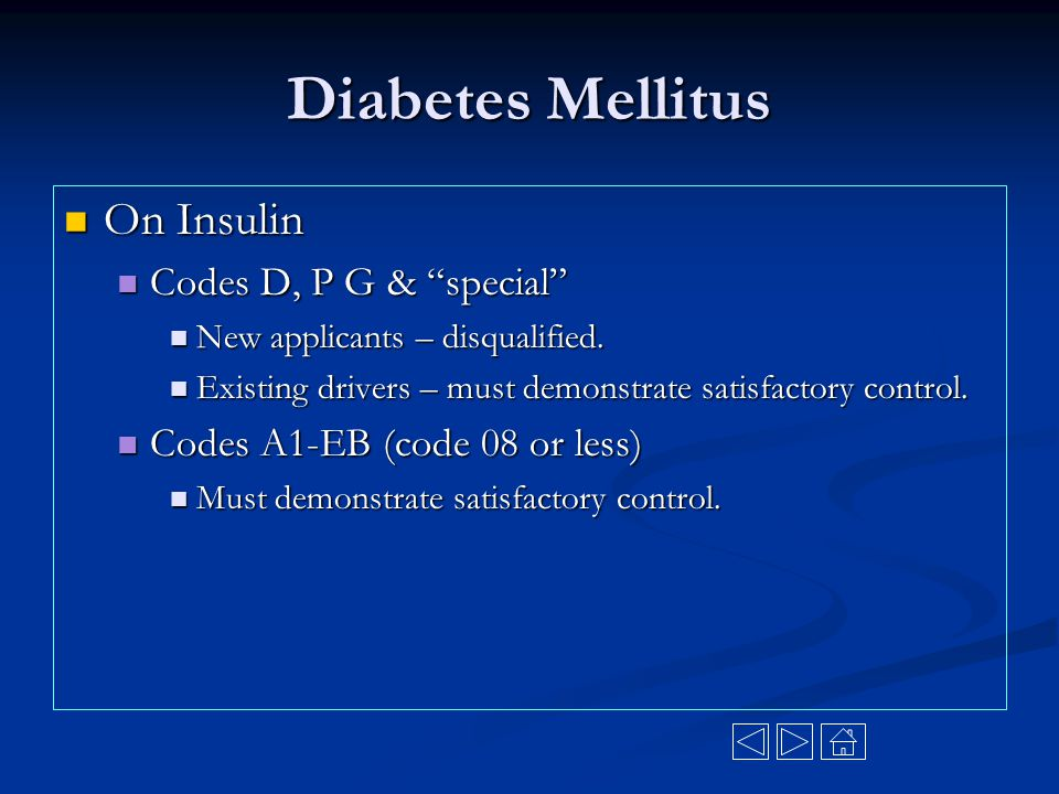 Diabetes Mellitus On Insulin Codes D, P G & special