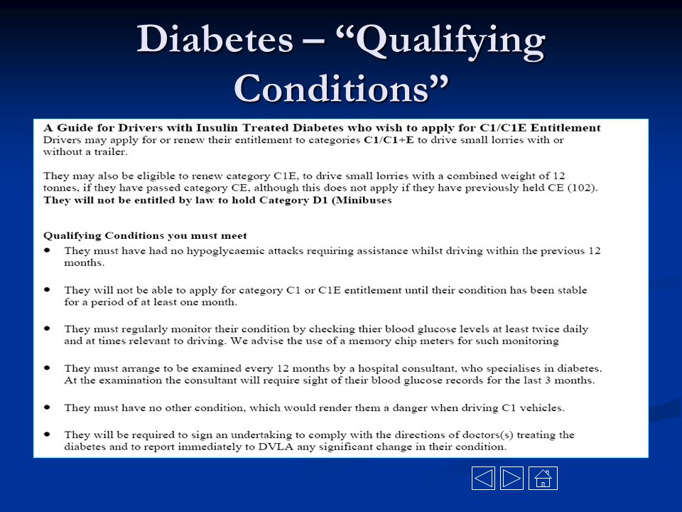 Diabetes – Qualifying Conditions