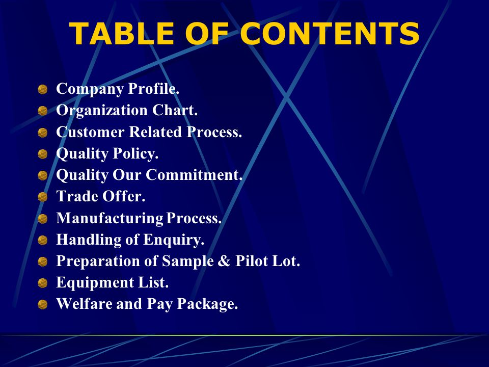 TABLE OF CONTENTS Company Profile. Organization Chart.
