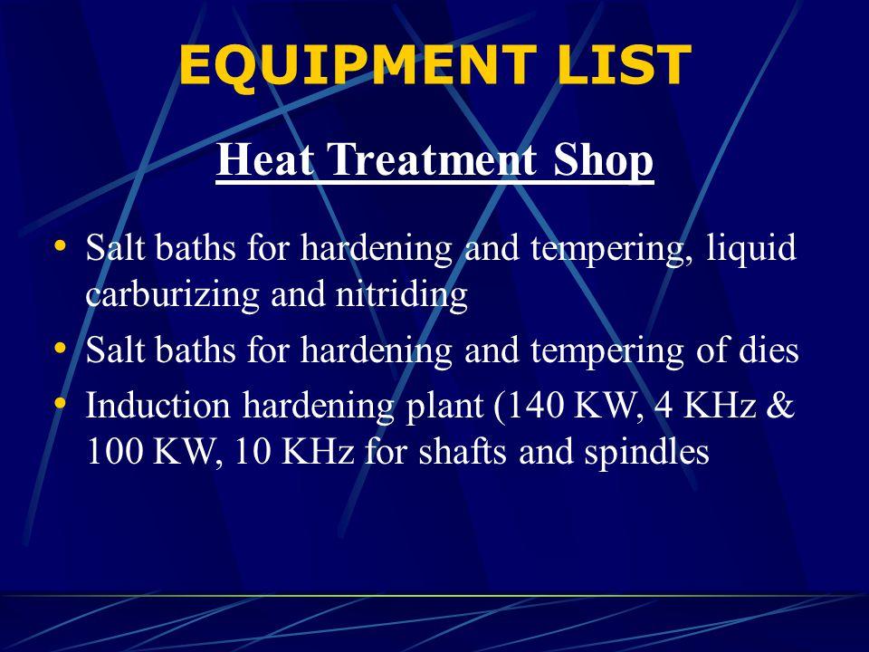 EQUIPMENT LIST Heat Treatment Shop