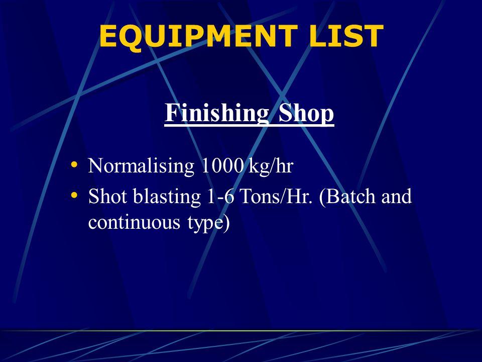 EQUIPMENT LIST Finishing Shop Normalising 1000 kg/hr