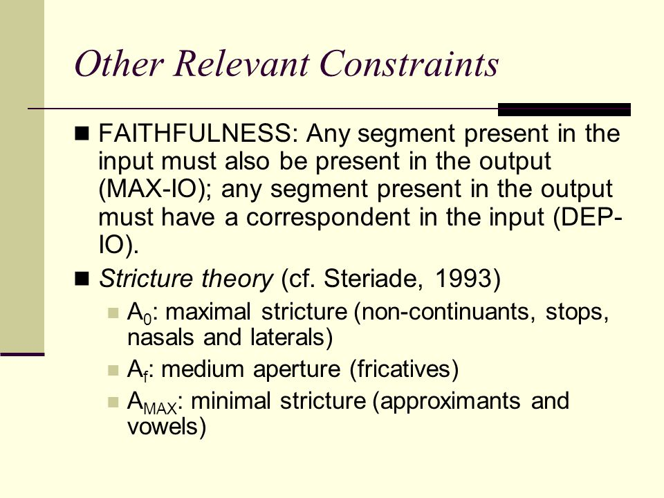 Other Relevant Constraints