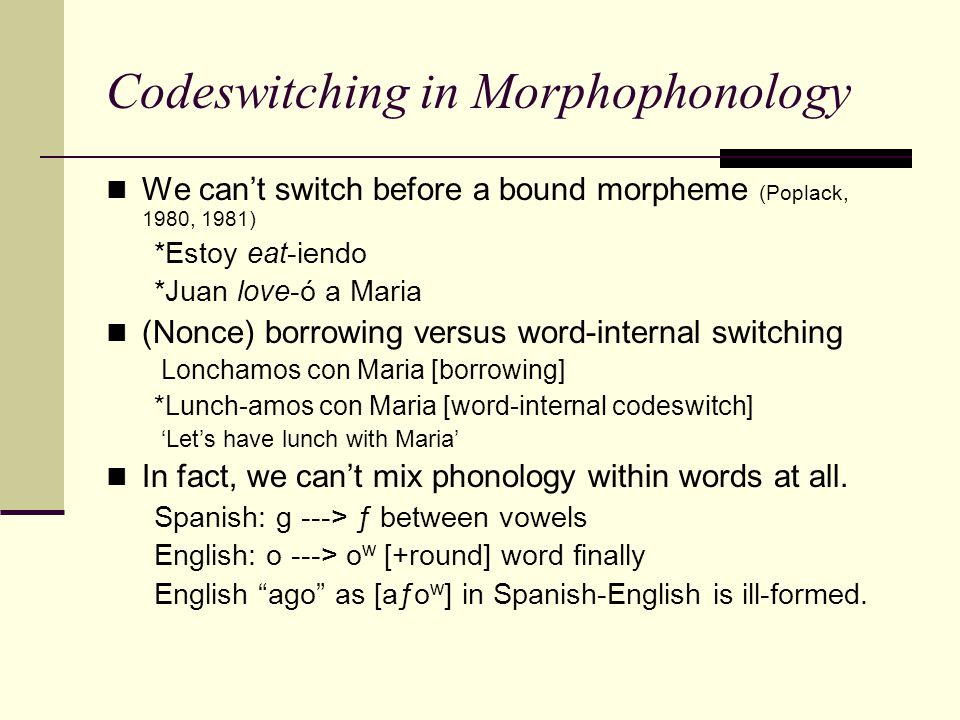 Codeswitching in Morphophonology