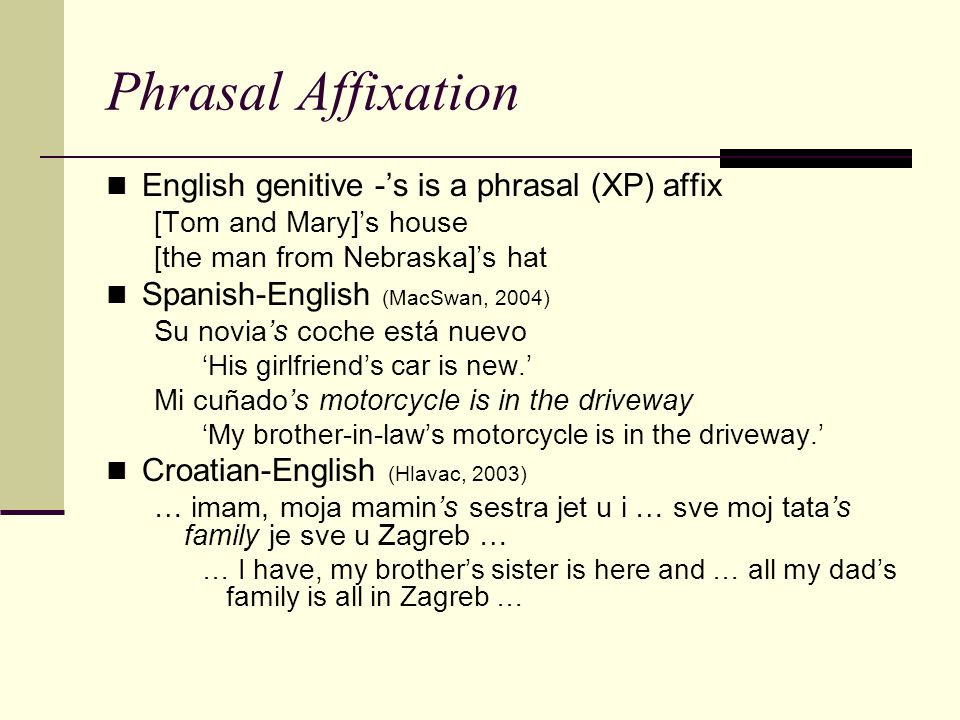 Phrasal Affixation English genitive -'s is a phrasal (XP) affix