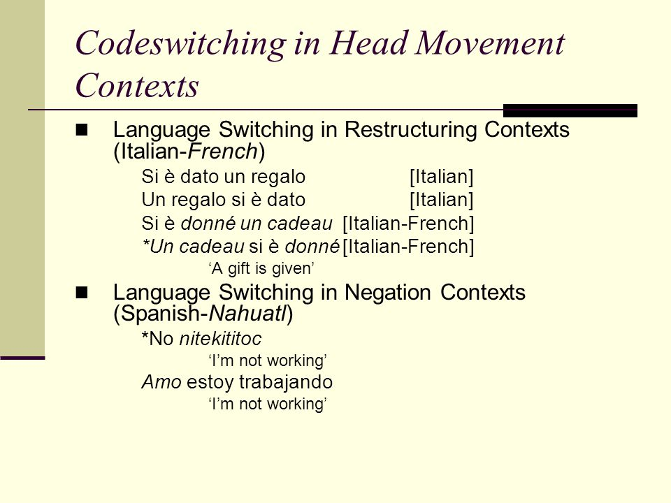 Codeswitching in Head Movement Contexts