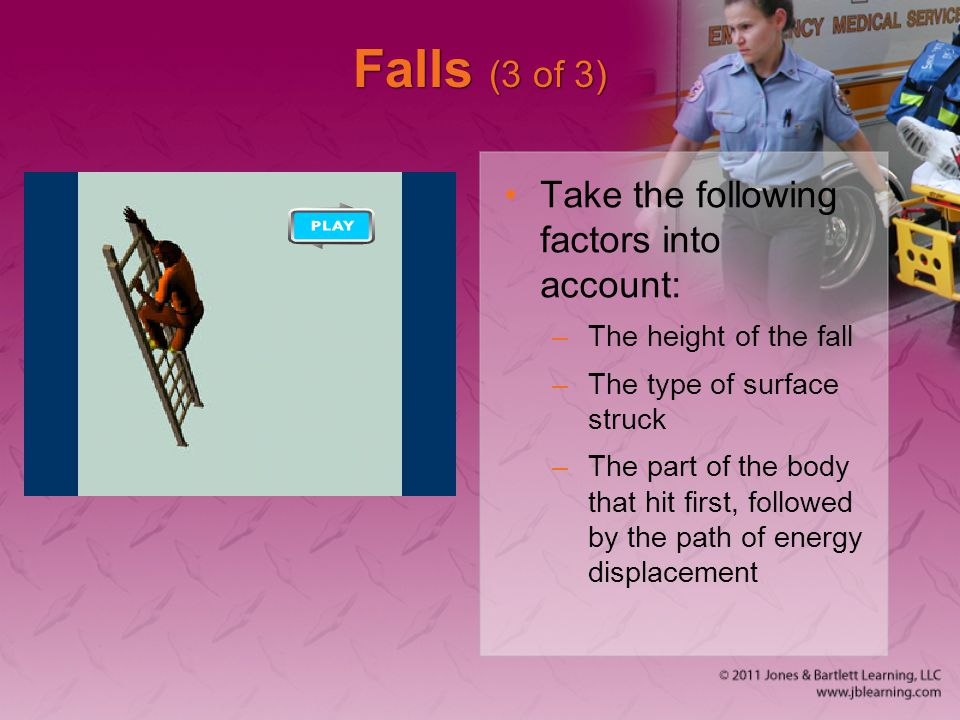 Falls (3 of 3) Take the following factors into account: