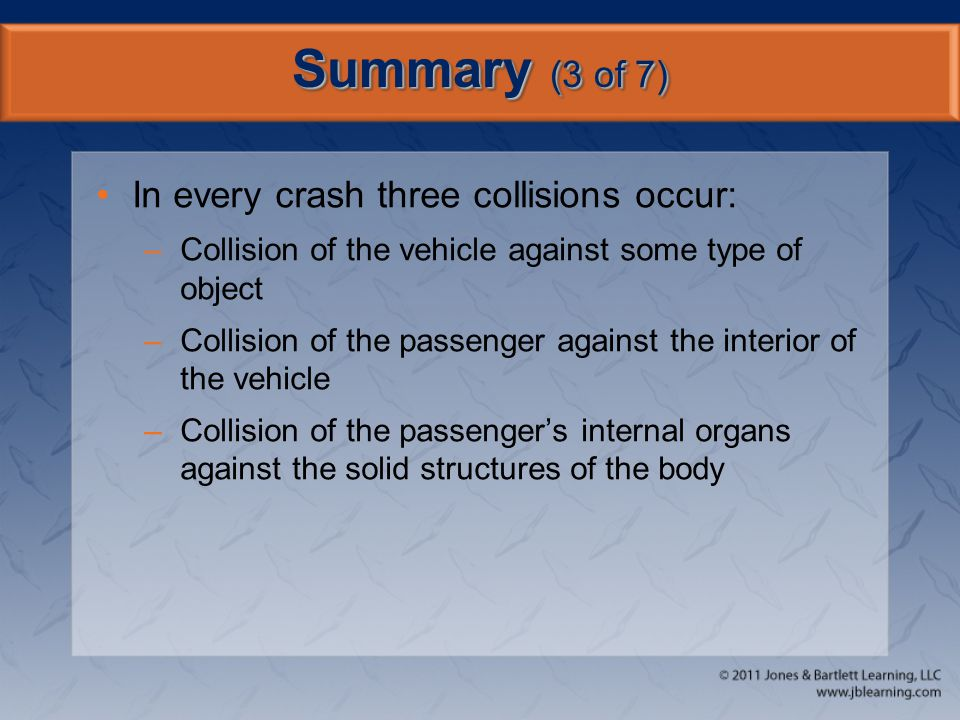 Summary (3 of 7) In every crash three collisions occur: