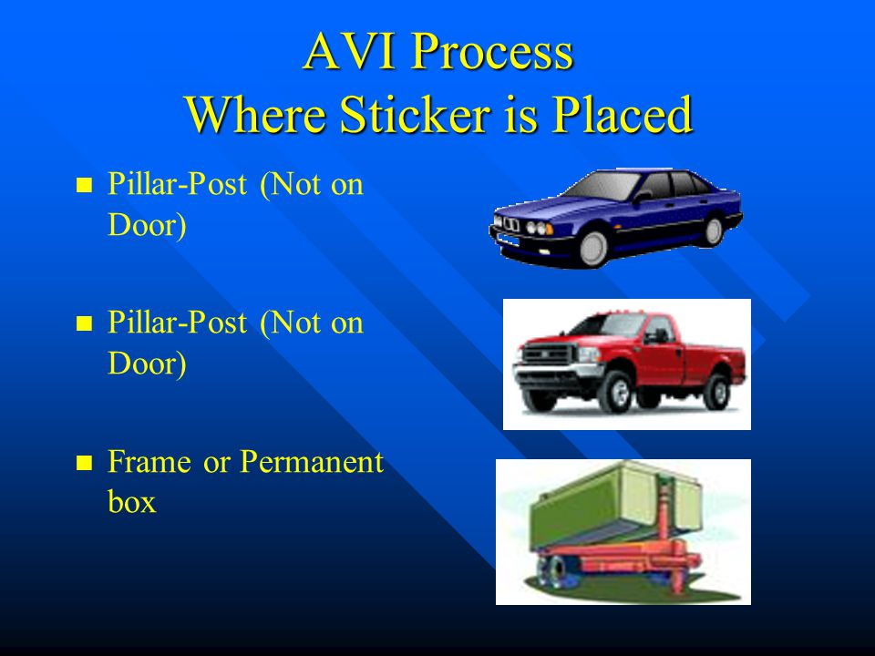 AVI Process Where Sticker is Placed