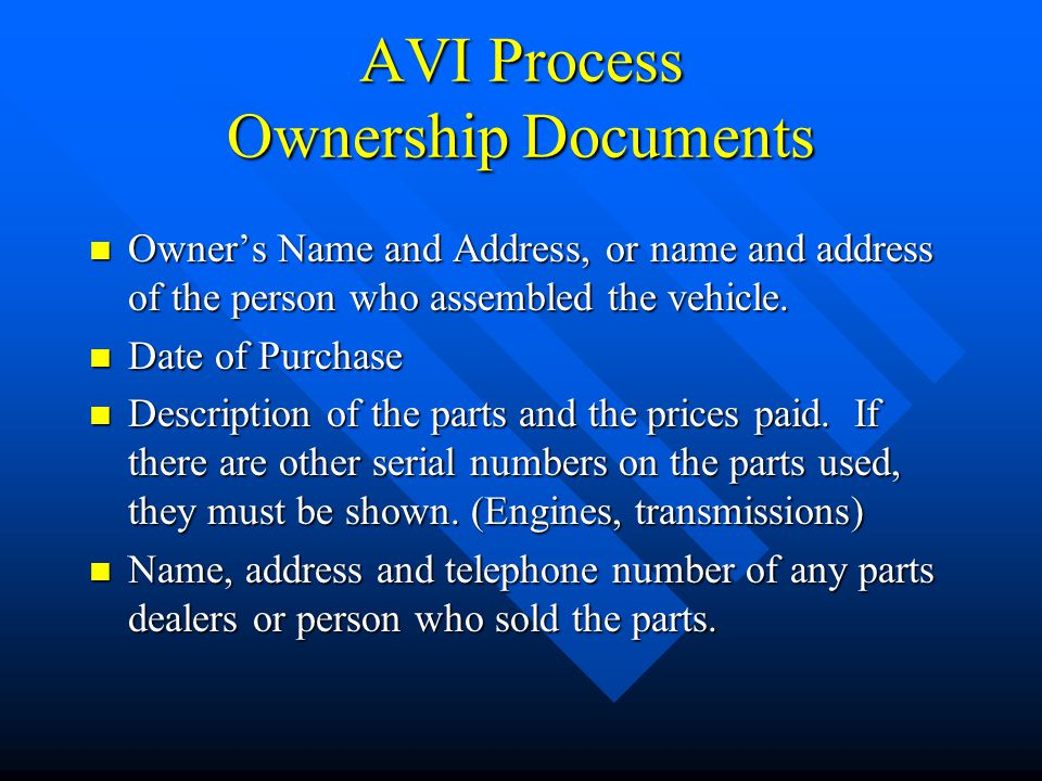AVI Process Ownership Documents