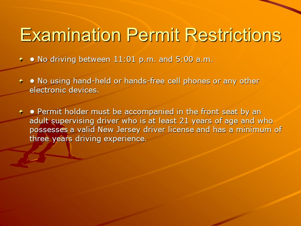 Examination Permit Restrictions