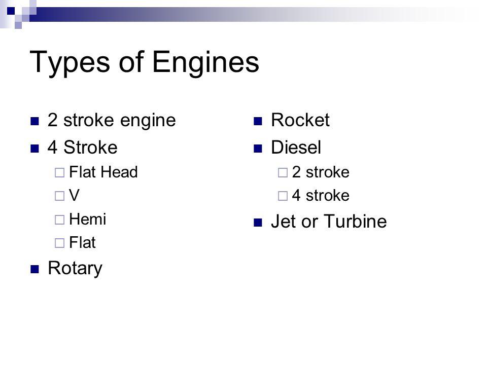 Types of Engines 2 stroke engine 4 Stroke Rotary Rocket Diesel