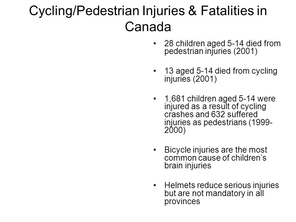 Cycling/Pedestrian Injuries & Fatalities in Canada
