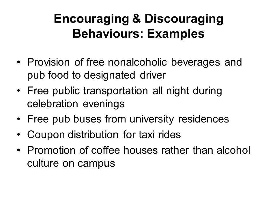 Encouraging & Discouraging Behaviours: Examples