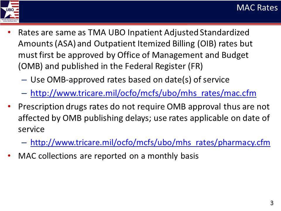 Use OMB-approved rates based on date(s) of service